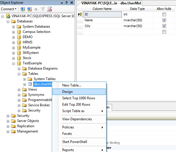 Modify columns in existing table in sql server 2008