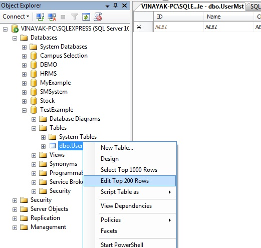 Create New database in sql server management studio 2008.