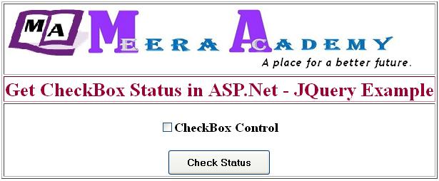 Check Status of CheckBox using JQuery