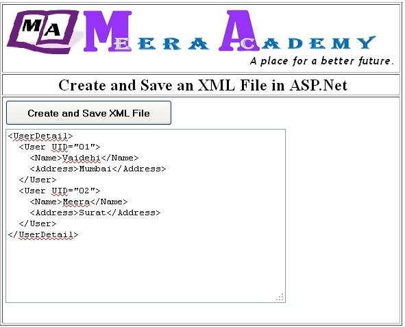 Create and Save an XML file in asp.net