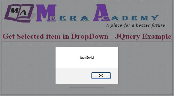Get Selected item from Dropdownlist using JQuery
