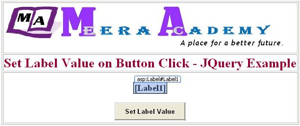 Set Label value while button click in asp.net using JQuery