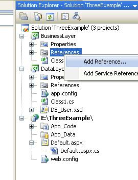 Add data access class references to business layer.