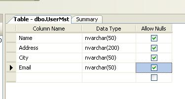 Create new table in database for 3 tier web application.