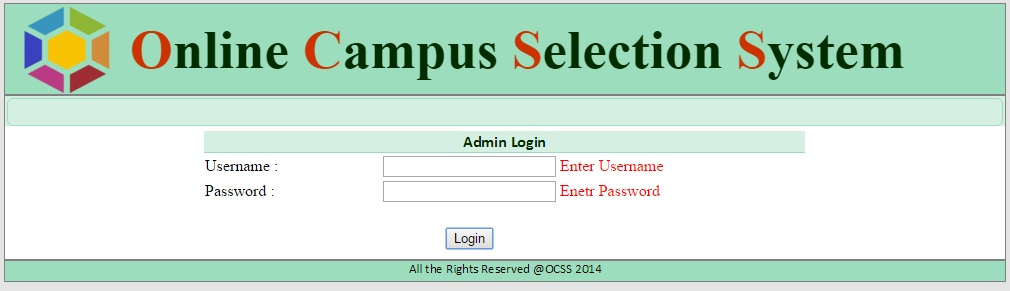 Admin Login Form - Campus Selection System