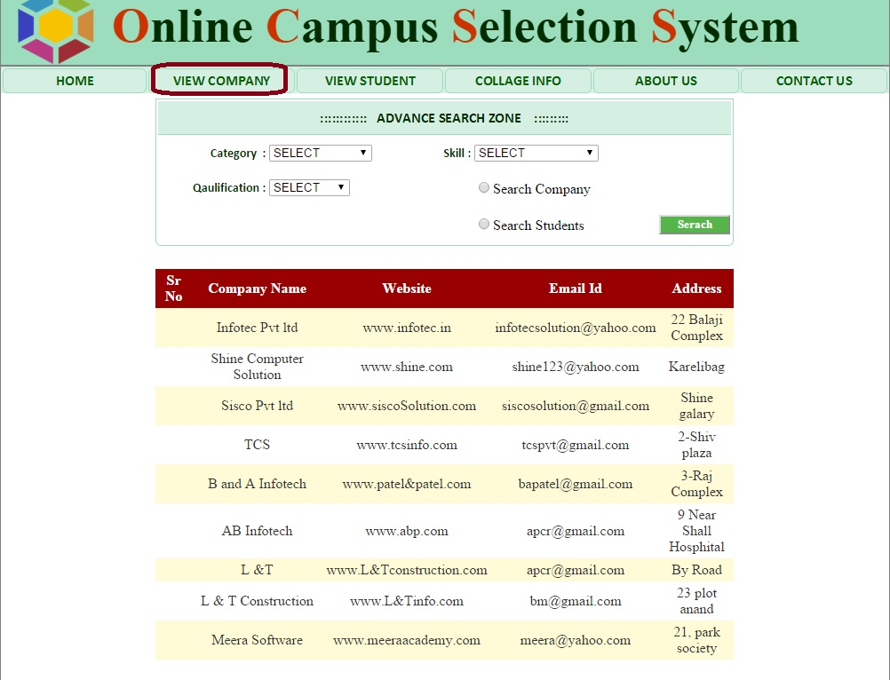Admin View Company Detail Form - Campus Selection System