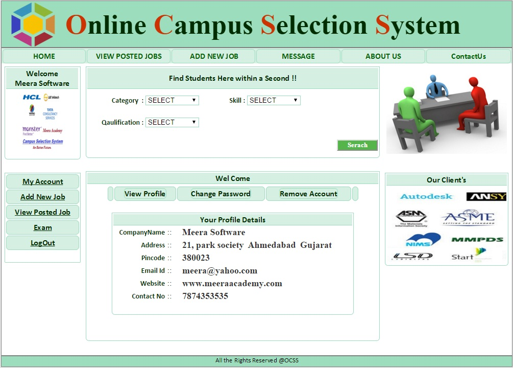 Company Login Home Page - Campus Selection System