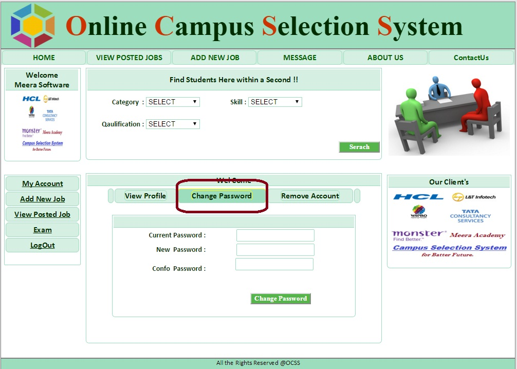 Company Change Password Form - Campus Selection System