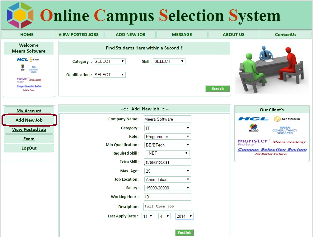 Company Add New Job Form - Campus Selection System