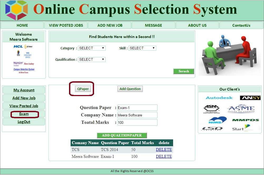 Company Add Exam Paper Form - Campus Selection System