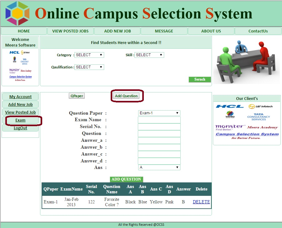Company Add Questions Form - Campus Selection System