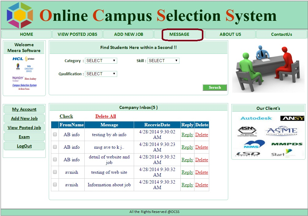 Company Message Box Form  - Campus Selection System