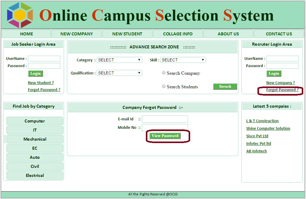 Company Forgot Password - Campus Selection System