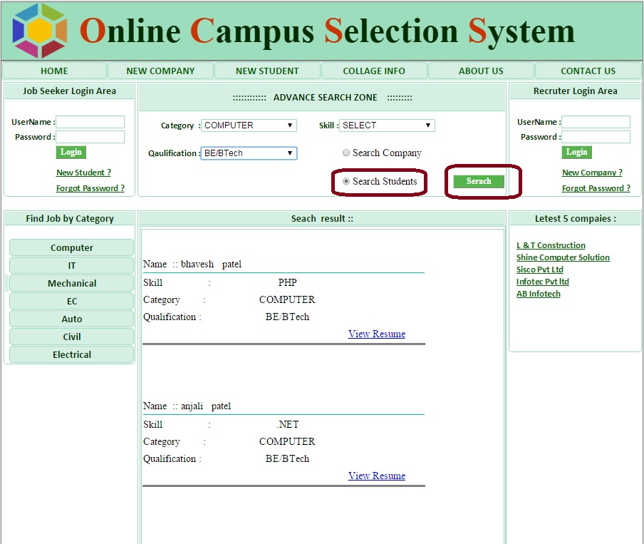 Student Search - Campus Selection System ASP.Net Project