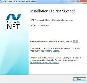 .NET Framework installation failure HRESULT 0xc8000222