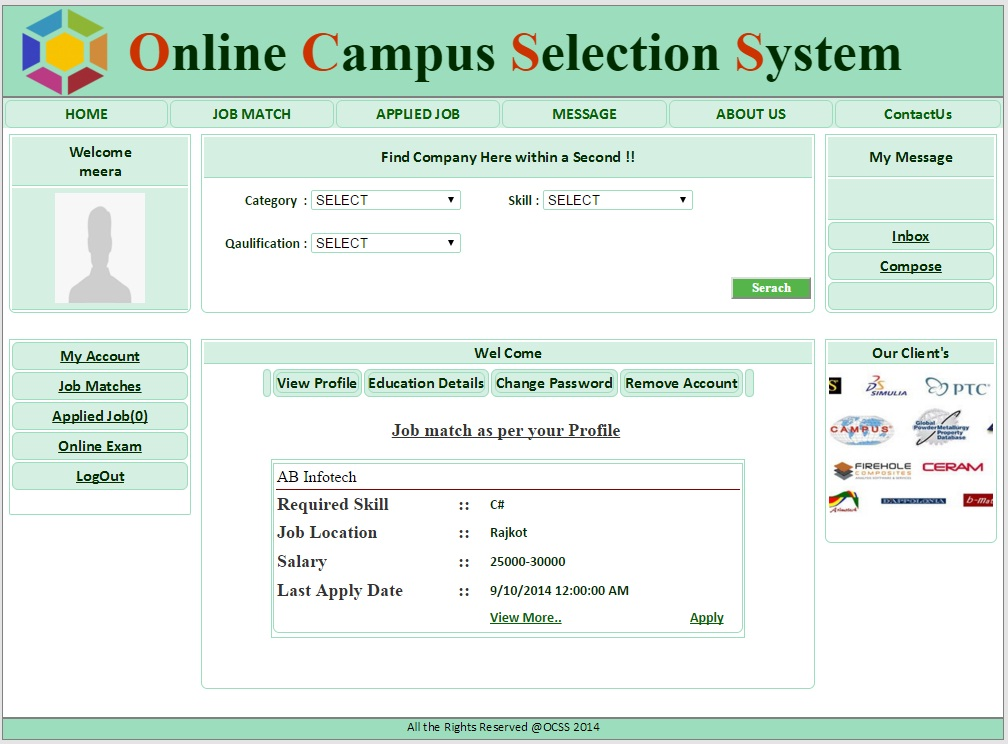 Student Home page  - Campus Selection System