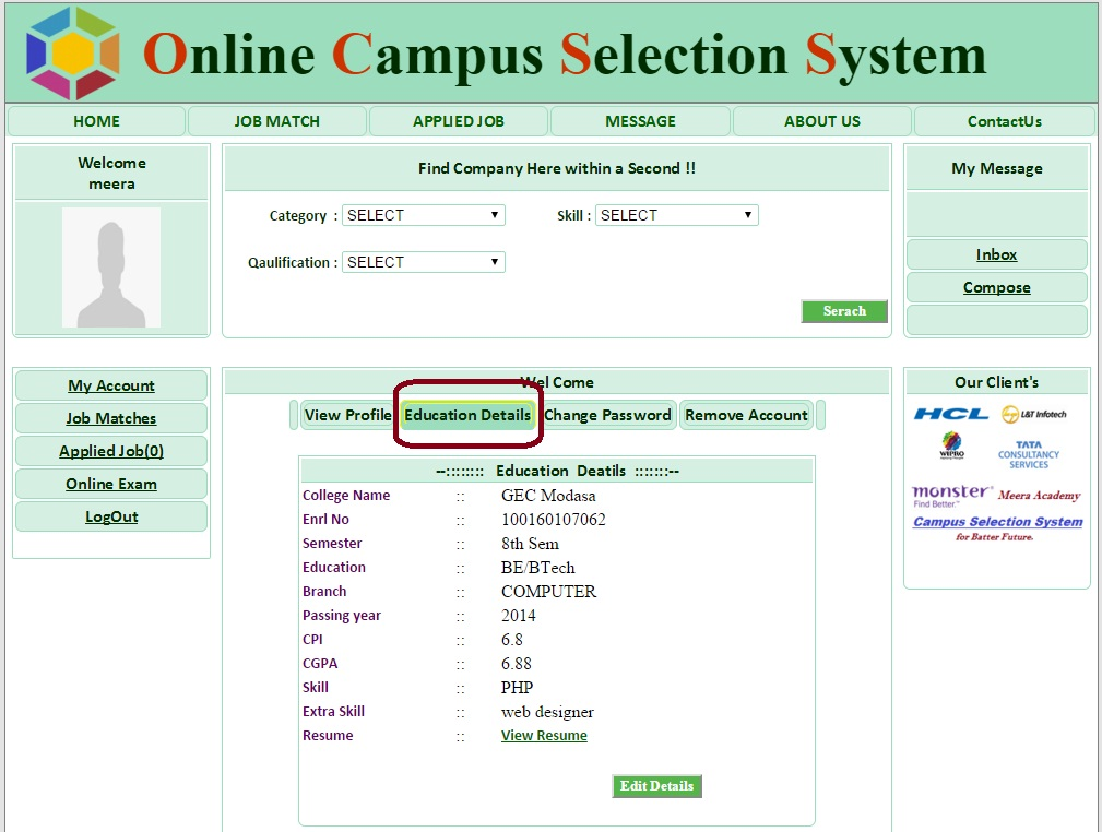 Student Education Detail Page - Campus Selection System