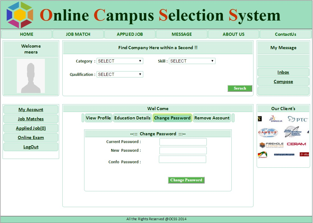 StudentChage Password Page  - Campus Selection System