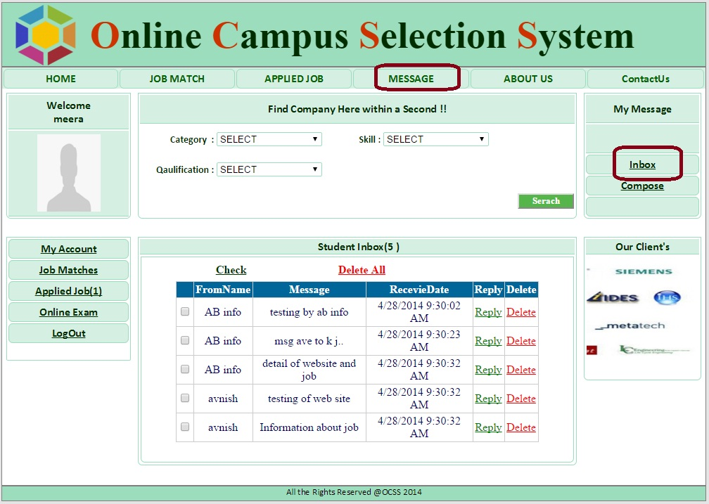 Student Message Box Page - Campus Selection System