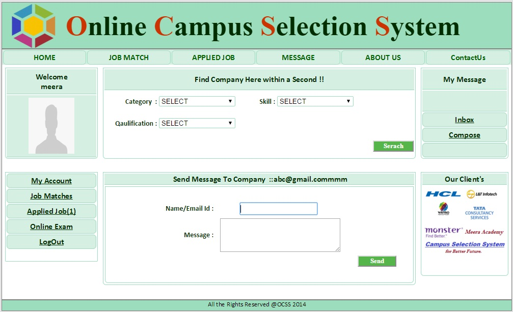 Student Message Reply Page  - Campus Selection System