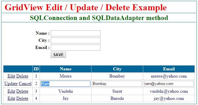 Insert Update Delete data in gridview control in asp.net c#