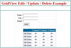 Insert Update Delete data in gridview using asp.net c# and vb.
