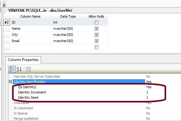 create new table in sql server databse.