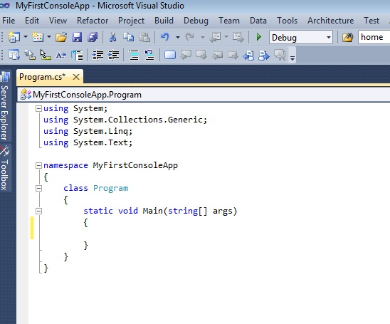 Create Console application in visual studio C# .net