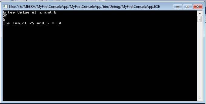 Output of console application in c#. net