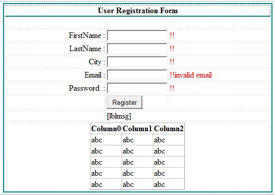 Create Simple Registration Form In AspNet With Database C