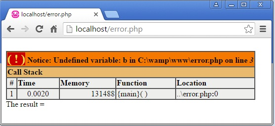 PHP Notice Error Example