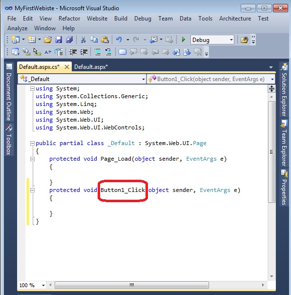write c# code in button click event asp.net