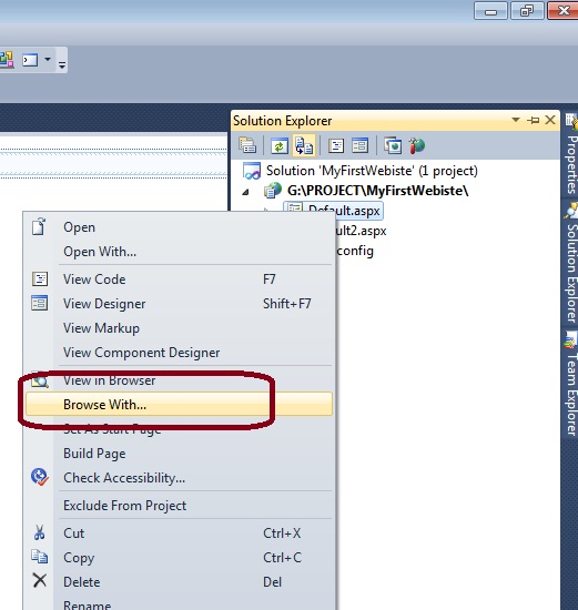 how to change browser in visual studio