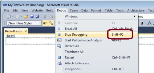 Stop Debugging ASP.Net website application c#