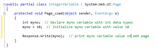 Integer type variable in c#.net
