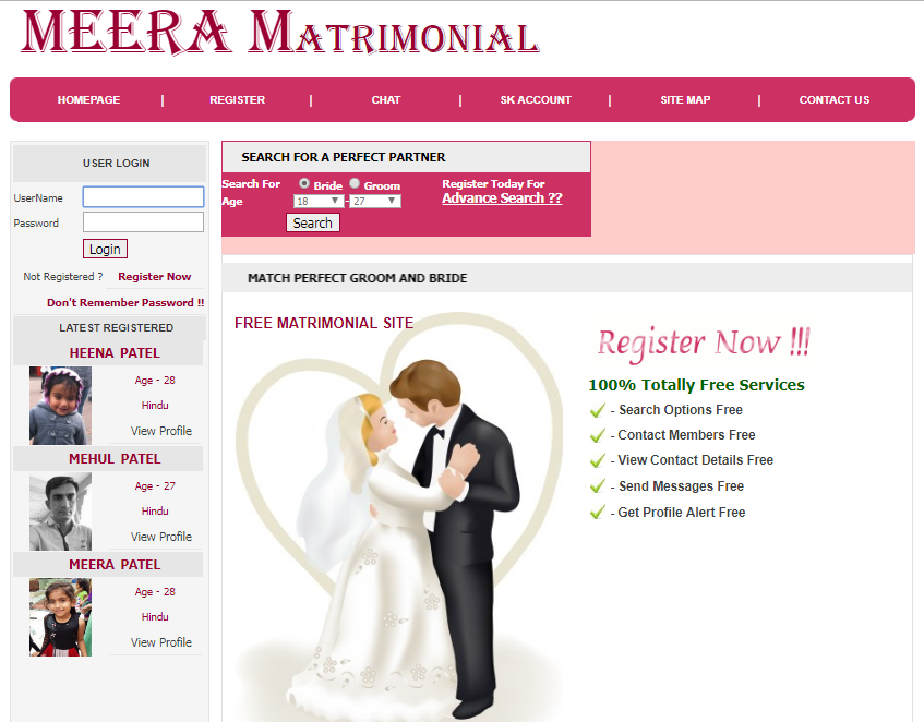 Matrimonial website project in asp.net c#