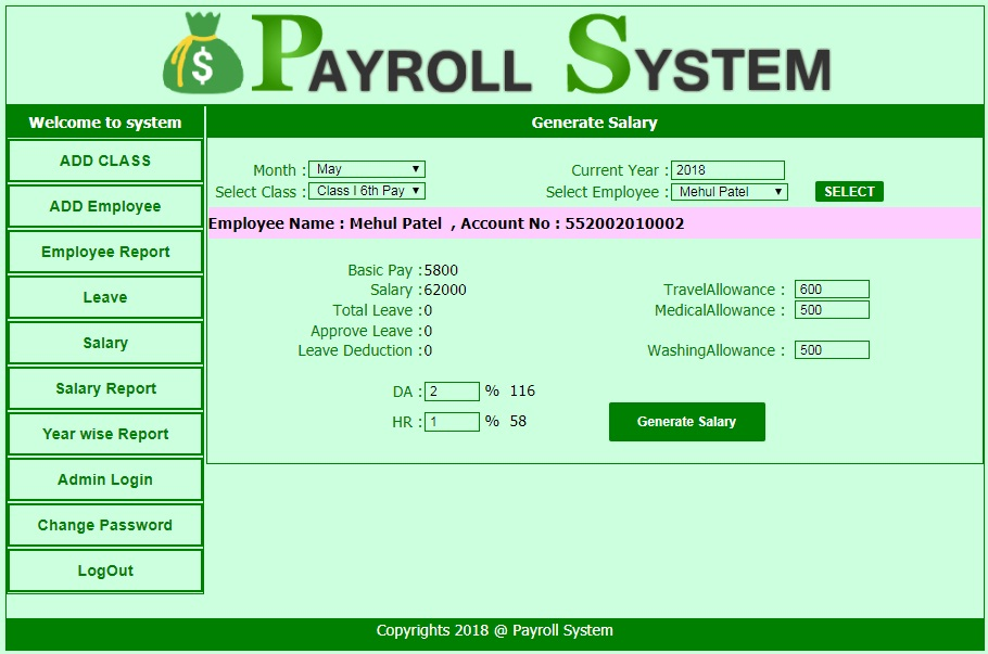 Payroll Management System - ASP.Net
